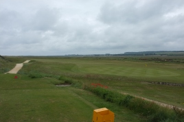 The view from the 1st tee, looking slightly out to the right to reveal the entire 18th green and double fairway shared by the opening and closing holes.