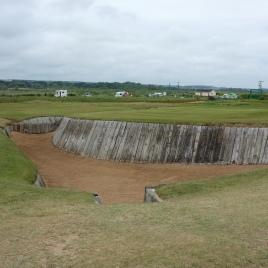 The view from the right-hand side of the 18th hole showing the same bunker from a slightly different angle.
