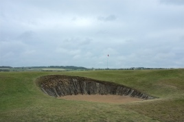 The view of the 3rd green from the left-hand side, showing one of five bunkers that guard the putting surface.