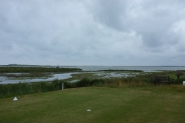The view from the tee on the 10th hole - looking behind the tee to the north-east across the inlet.