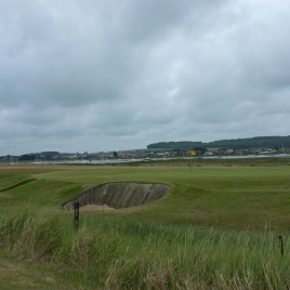 The view from in front of the 11th tees - looking back to the south-east at the 10th green.