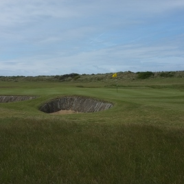The view of the 17th green from the left-hand rough.