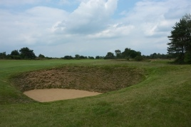 The view from the right-hand side of the 2nd fairway showing the first of many deep fairway bunkers you will encounter on the Hotchkin Course.