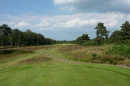 The view from the 6th tee - taken from the yellow tee markers. From here the hole is 62 yards shorter than the back markers. As a result it reduces from a par five to four, playing at a brutish 464 yards.