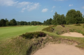 The view from the right-hand side of the 9th fairway showing a pair of bunkers waiting to catch a poor drive.