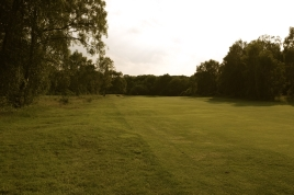 The view from the 14th fairway approaching the green.