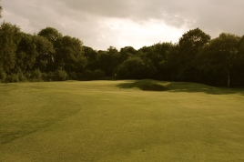 The view of the 14th green from the fairway.