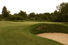 The view of the 17th green from the right-hand side of the fairway.