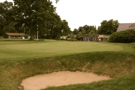 The view of the 18th green from the right-hand rough.