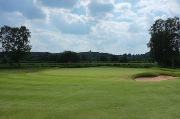 The view of the 1st green from the fairway.