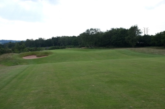 The view from the crest of the second ridge on the 12th fairway showing the green.