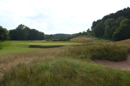 The view of the 16th green from the right-hand rough.