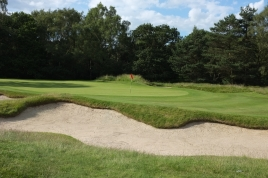 The view of the 7th green from the left-hand side, showing one of the five bunkers which guard the putting surface.