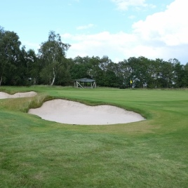The view of the 8th green from front left.