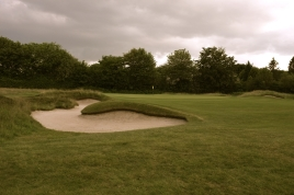 The view of the 16th green from front left.
