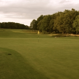 The view from the back of the 16th green looking back down the length of the hole.