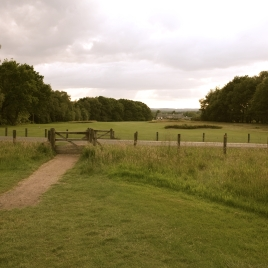 The view from in front of the 17th tees, showing the road which cuts across the hole before the start of the fairway.