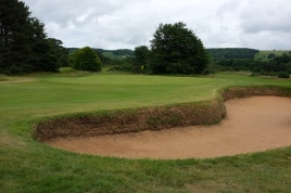 The view of the approach to the 1st green from the right-hand side of the fairway.