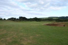 The view of the approach to the 14th green - from next the fairway bunker shown in the previous image.