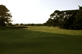 The view form the right-hand side of the 16th fairway, which gives you a better view of the green and its approach.
