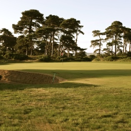 The view of the 16th green from the left-hand rough.