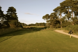 The view from the 17th tee. The road directly in front of the tee here is in play.