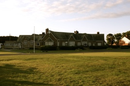 The view of the Clubhouse from adjacent to the 18th green.